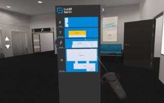 While the web version enables navigation with buttons, the VR application has a useful interactive floor plan to change the room.