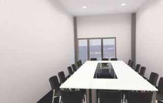 Meetingroom with block-shaped seating in the VR application.