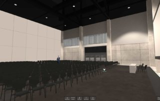 One seating constellation in the event hall – suitable for big conferences and events.